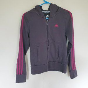 Adidas gray  3 stripe zip  hoodie sweatshirt S
